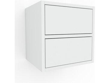 Hängeschrank Weiß - Moderner Wandschrank: Schubladen in Weiß - 41 x 41 x 35 cm, konfigurierbar