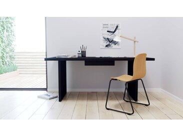Schreibtisch Massivholz Schwarz - Moderner Massivholz-Schreibtisch: mit 1 Schublade/n - Hochwertige Materialien - 180 x 75 x 90 cm, konfigurierbar