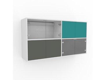 Hängeschrank Nebelgrün - Moderner Wandschrank: Türen in Nebelgrün - 152 x 80 x 35 cm, konfigurierbar