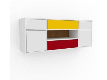 Hängeschrank Weiß - Wandschrank: Schubladen in Weiß & Türen in Weiß - 154 x 61 x 35 cm, konfigurierbar