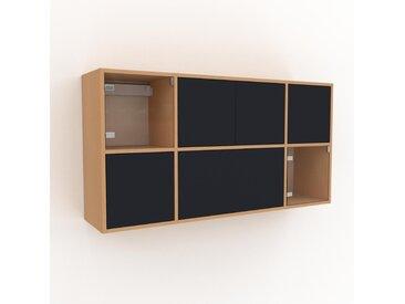 Hängeschrank Anthrazit - Wandschrank: Schubladen in Anthrazit & Türen in Anthrazit - 154 x 80 x 35 cm, konfigurierbar