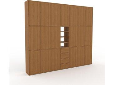 Schrankwand Eiche - Moderne Wohnwand: Schubladen in Eiche & Türen in Eiche - Hochwertige Materialien - 267 x 233 x 35 cm, Konfigurator