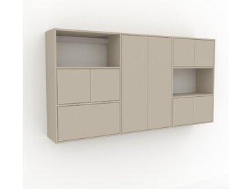 Hängeschrank Taupe - Wandschrank: Schubladen in Taupe & Türen in Taupe - 226 x 118 x 35 cm, konfigurierbar