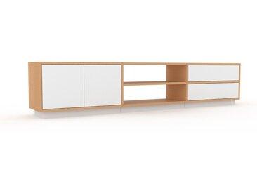 Lowboard Buche - TV-Board: Schubladen in Weiß & Türen in Weiß - Hochwertige Materialien - 226 x 47 x 35 cm, Komplett anpassbar