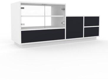 Vitrine Anthrazit - Moderne Glasvitrine: Schubladen in Anthrazit & Türen in Kristallglas klar - Hochwertige Materialien - 154 x 66 x 47 cm, konfigurierbar