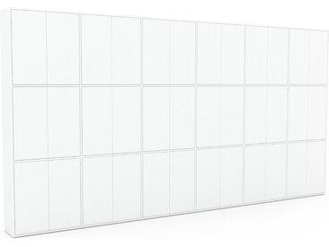 Schrankwand Weiß - Moderne Wohnwand: Türen in Weiß - Hochwertige Materialien - 450 x 234 x 35 cm, Konfigurator