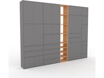 Schrankwand Grau - Moderne Wohnwand: Schubladen in Grau & Türen in Grau - Hochwertige Materialien - 303 x 233 x 35 cm, Konfigurator
