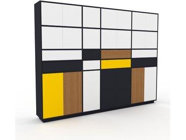 Schrankwand Anthrazit - Moderne Wohnwand: Schubladen in Weiß & Türen in Weiß - Hochwertige Materialien - 265 x 200 x 35 cm, Konfigurator