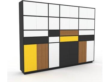 Schrankwand Weiß - Moderne Wohnwand: Schubladen in Weiß & Türen in Weiß - Hochwertige Materialien - 265 x 200 x 35 cm, Konfigurator