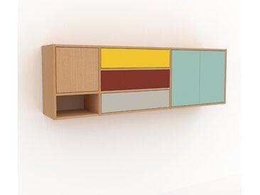 Hängeschrank Mint - Wandschrank: Schubladen in Taupe & Türen in Mint - 190 x 61 x 35 cm, konfigurierbar
