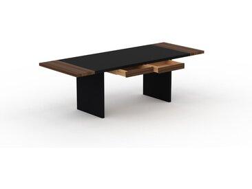 Schreibtisch Massivholz Schwarz - Moderner Massivholz-Schreibtisch: mit 2 Schublade/n - Hochwertige Materialien - 240 x 75 x 90 cm, konfigurierbar