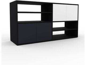 TV-Schrank Schwarz - Moderner Fernsehschrank: Türen in Anthrazit - 152 x 80 x 47 cm, konfigurierbar