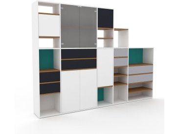 Wohnwand Weiß - Individuelle Designer-Regalwand: Schubladen in Anthrazit & Türen in Weiß - Hochwertige Materialien - 267 x 195 x 35 cm, Konfigurator