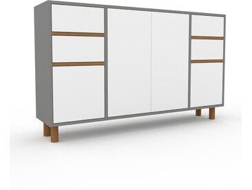 Highboard Grau - Highboard: Schubladen in Weiß & Türen in Weiß - Hochwertige Materialien - 154 x 91 x 35 cm, Selbst designen
