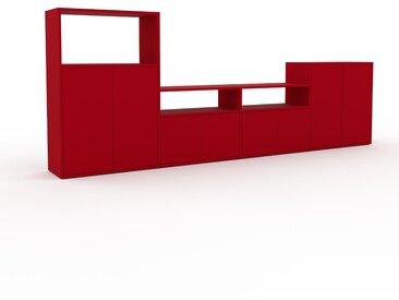 Wohnwand Rot - Individuelle Designer-Regalwand: Türen in Rot - Hochwertige Materialien - 303 x 118 x 35 cm, Konfigurator