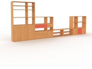 Wohnwand Buche - Individuelle Designer-Regalwand: Schubladen in Buche & Türen in Buche - Hochwertige Materialien - 491 x 195 x 35 cm, Konfigurator