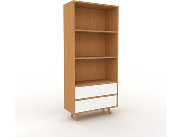 Aktenregal Eiche - Flexibles Büroregal: Schubladen in Weiß - Hochwertige Materialien - 77 x 168 x 35 cm, konfigurierbar