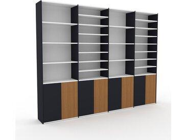 Bücherregal Anthrazit - Modernes Regal für Bücher: Türen in Anthrazit - 301 x 233 x 35 cm, Individuell konfigurierbar