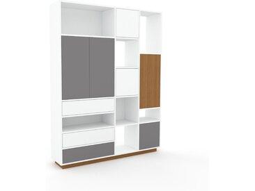 Aktenregal Weiß - Büroregal: Schubladen in Weiß & Türen in Grau - Hochwertige Materialien - 154 x 200 x 35 cm, konfigurierbar