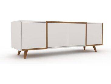 Lowboard Weiß - Designer-TV-Board: Türen in Weiß - Hochwertige Materialien - 154 x 53 x 47 cm, Komplett anpassbar