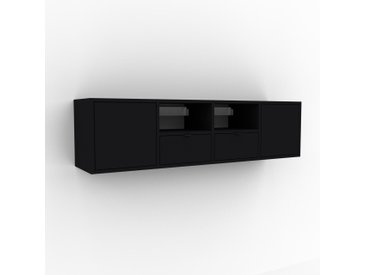 Hängeschrank Schwarz - Wandschrank: Schubladen in Schwarz & Türen in Schwarz - 156 x 41 x 35 cm, konfigurierbar