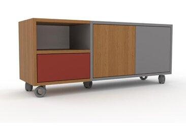 Rollcontainer Grau - Rollcontainer: Schubladen in Terrakotta & Türen in Eiche - 116 x 49 x 35 cm, konfigurierbar