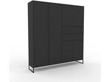 Aktenschrank Graphitgrau - Büroschrank: Schubladen in Graphitgrau & Türen in Graphitgrau - Hochwertige Materialien - 154 x 168 x 35 cm, Modular