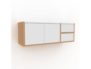 Hängeschrank Weiß - Wandschrank: Schubladen in Weiß & Türen in Weiß - 116 x 41 x 35 cm, konfigurierbar