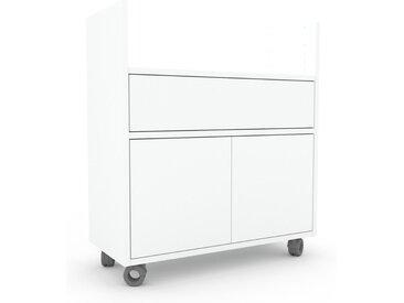 Rollcontainer Weiß - Rollcontainer: Schubladen in Weiß & Türen in Weiß - 77 x 87 x 35 cm, konfigurierbar