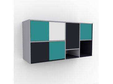 Hängeschrank Seegrün - Moderner Wandschrank: Türen in Seegrün - 154 x 80 x 47 cm, konfigurierbar