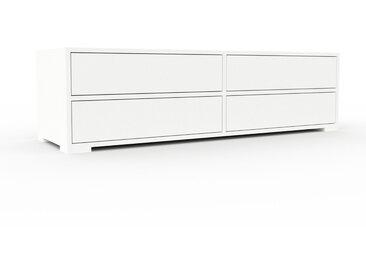 Lowboard Weiß - Designer-TV-Board: Schubladen in Weiß - Hochwertige Materialien - 152 x 43 x 47 cm, Komplett anpassbar