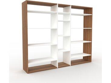 Wohnwand Nussbaum, Holz - Individuelle Designer-Regalwand: Hochwertige Qualität, einzigartiges Design - 190 x 157 x 35 cm, Konfigurator