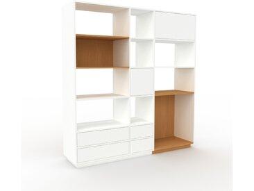 Wohnwand Weiß - Individuelle Designer-Regalwand: Schubladen in Weiß & Türen in Weiß - Hochwertige Materialien - 190 x 200 x 47 cm, Konfigurator