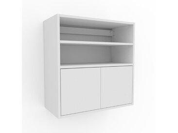 Hängeschrank Weiß - Moderner Wandschrank: Türen in Weiß - 77 x 80 x 35 cm, konfigurierbar