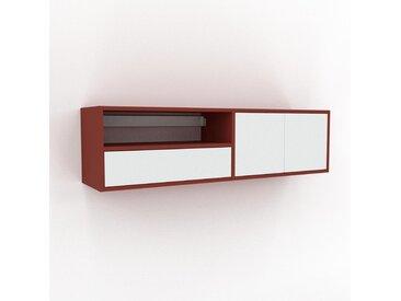 Hängeschrank Weiß - Wandschrank: Schubladen in Weiß & Türen in Weiß - 152 x 41 x 35 cm, konfigurierbar