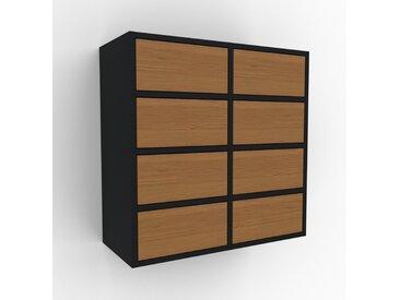 Hängeschrank Eiche - Moderner Wandschrank: Schubladen in Eiche - 79 x 80 x 35 cm, konfigurierbar