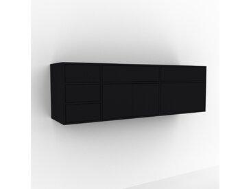Hängeschrank Schwarz - Wandschrank: Schubladen in Schwarz & Türen in Schwarz - 190 x 61 x 47 cm, konfigurierbar