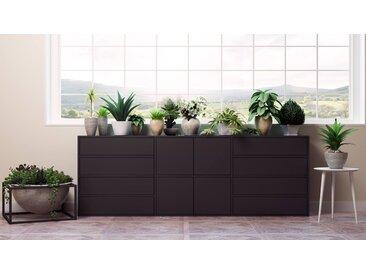 Kommode Schwarz - Lowboard: Schubladen in Schwarz & Türen in Schwarz - Hochwertige Materialien - 226 x 80 x 35 cm, konfigurierbar