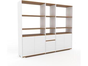 Bücherregal Weiß - Modernes Regal für Bücher: Schubladen in Weiß & Türen in Weiß - 190 x 158 x 35 cm, konfigurierbar
