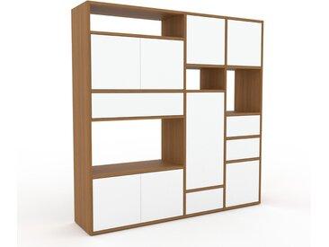 Schrankwand Weiß - Moderne Wohnwand: Schubladen in Weiß & Türen in Weiß - Hochwertige Materialien - 154 x 157 x 35 cm, Konfigurator