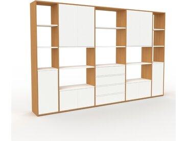 Regalsystem Eiche - Regalsystem: Schubladen in Weiß & Türen in Weiß - Hochwertige Materialien - 303 x 195 x 35 cm, konfigurierbar