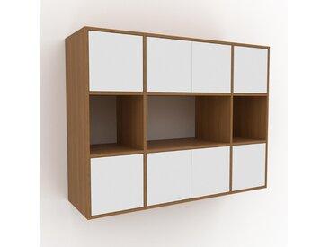 Hängeschrank Weiß - Moderner Wandschrank: Türen in Weiß - 154 x 118 x 47 cm, konfigurierbar