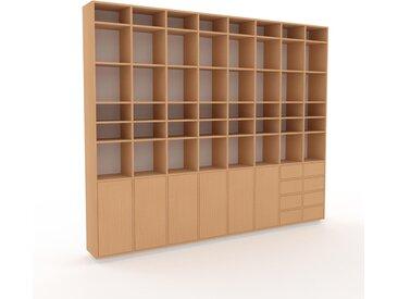Holzregal Buche - Modernes Regal aus Holz: Schubladen in Buche & Türen in Buche - 310 x 258 x 35 cm, Personalisierbar