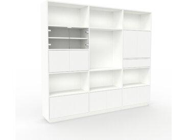 Aktenregal Weiß - Büroregal: Schubladen in Weiß & Türen in Weiß - Hochwertige Materialien - 226 x 200 x 35 cm, konfigurierbar