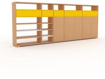 Wohnwand Buche - Individuelle Designer-Regalwand: Schubladen in Gelb & Türen in Buche - Hochwertige Materialien - 303 x 120 x 35 cm, Konfigurator