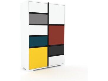 Aktenschrank Weiß - Büroschrank: Schubladen in Weiß & Türen in Gelb - Hochwertige Materialien - 79 x 120 x 35 cm, Modular