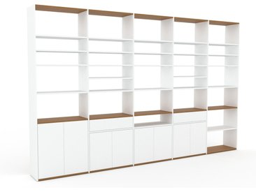 Aktenregal Weiß - Büroregal: Schubladen in Weiß & Türen in Weiß - Hochwertige Materialien - 375 x 233 x 35 cm, konfigurierbar