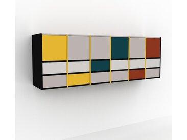 Hängeschrank Hellgrau - Wandschrank: Schubladen in Weiß & Türen in Hellgrau - 233 x 80 x 47 cm, konfigurierbar