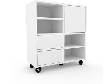 Rollcontainer Weiß - Rollcontainer: Schubladen in Weiß & Türen in Weiß - 79 x 87 x 35 cm, konfigurierbar
