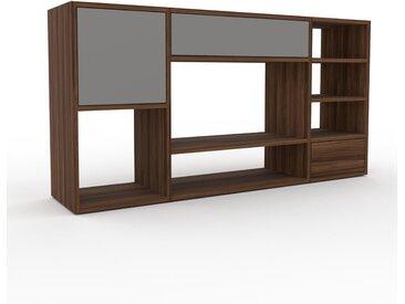 Holzregal Nussbaum - Modernes Regal aus Holz: Schubladen in Grau & Türen in Grau - 154 x 80 x 35 cm, Personalisierbar